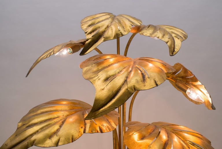 Amazing Gilded Floral Floor Lamp by Hans Kögl, Germany, 1960s For Sale 8