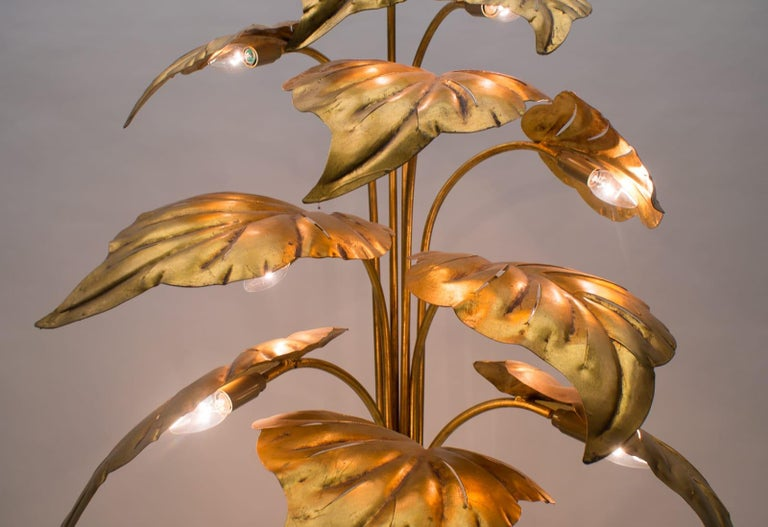 Amazing Gilded Floral Floor Lamp by Hans Kögl, Germany, 1960s For Sale 9
