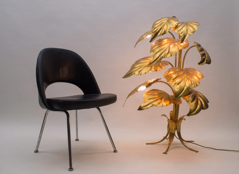 Hollywood Regency Amazing Gilded Floral Floor Lamp by Hans Kögl, Germany, 1960s For Sale
