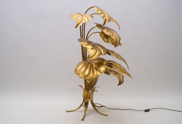 Gilt Amazing Gilded Floral Floor Lamp by Hans Kögl, Germany, 1960s For Sale