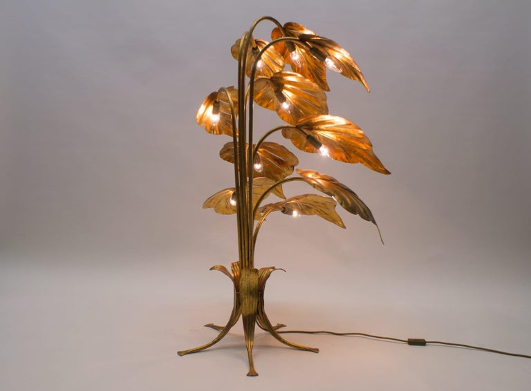 Amazing Gilded Floral Floor Lamp by Hans Kögl, Germany, 1960s In Good Condition For Sale In Nürnberg, Bayern