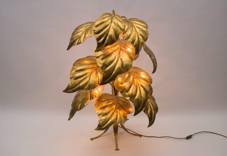 Mid-20th Century Amazing Gilded Floral Floor Lamp by Hans Kögl, Germany, 1960s For Sale