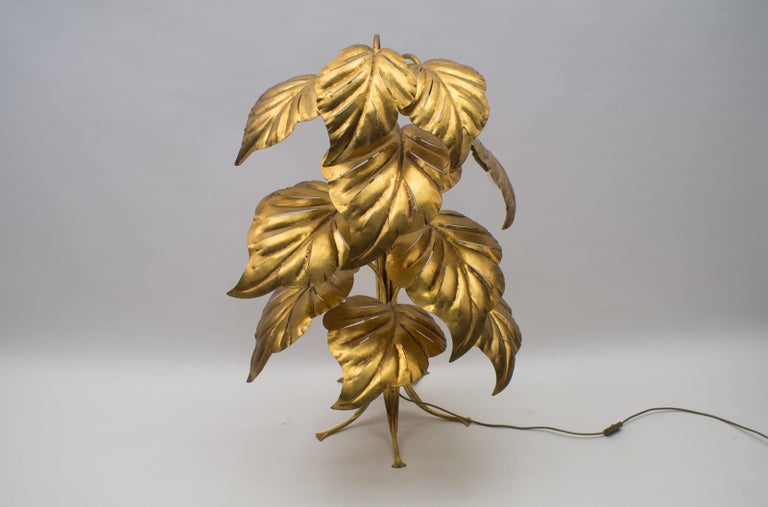 Metal Amazing Gilded Floral Floor Lamp by Hans Kögl, Germany, 1960s For Sale