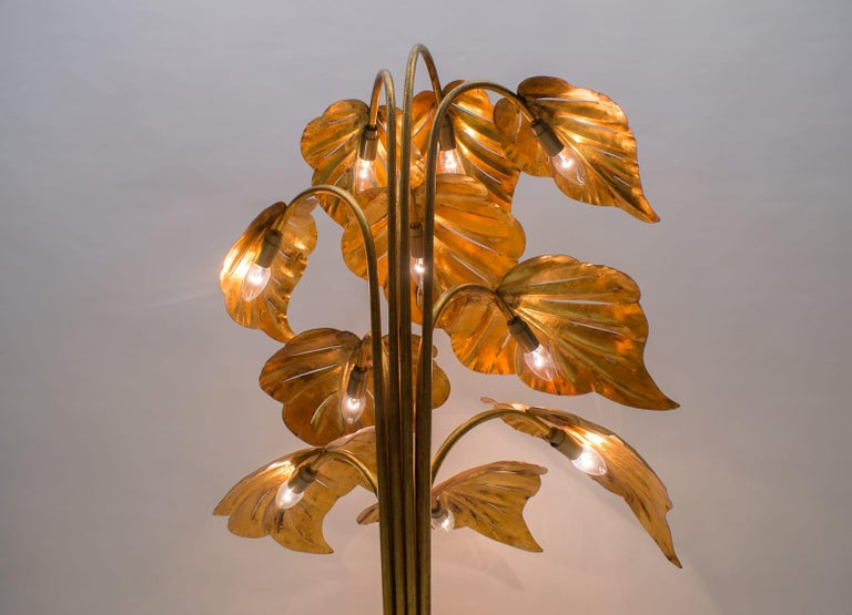 Amazing Gilded Floral Floor Lamp by Hans Kögl, Germany, 1960s For Sale 2