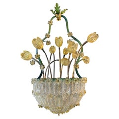 Amazing Glass Flower Chandelier with Gold Inclusions, Murano, 1950s