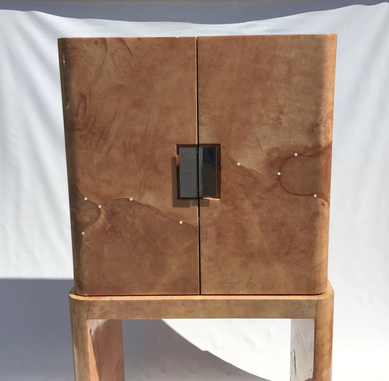 Amazing Goatskin Cabinet In The Style Of Karl Springer For