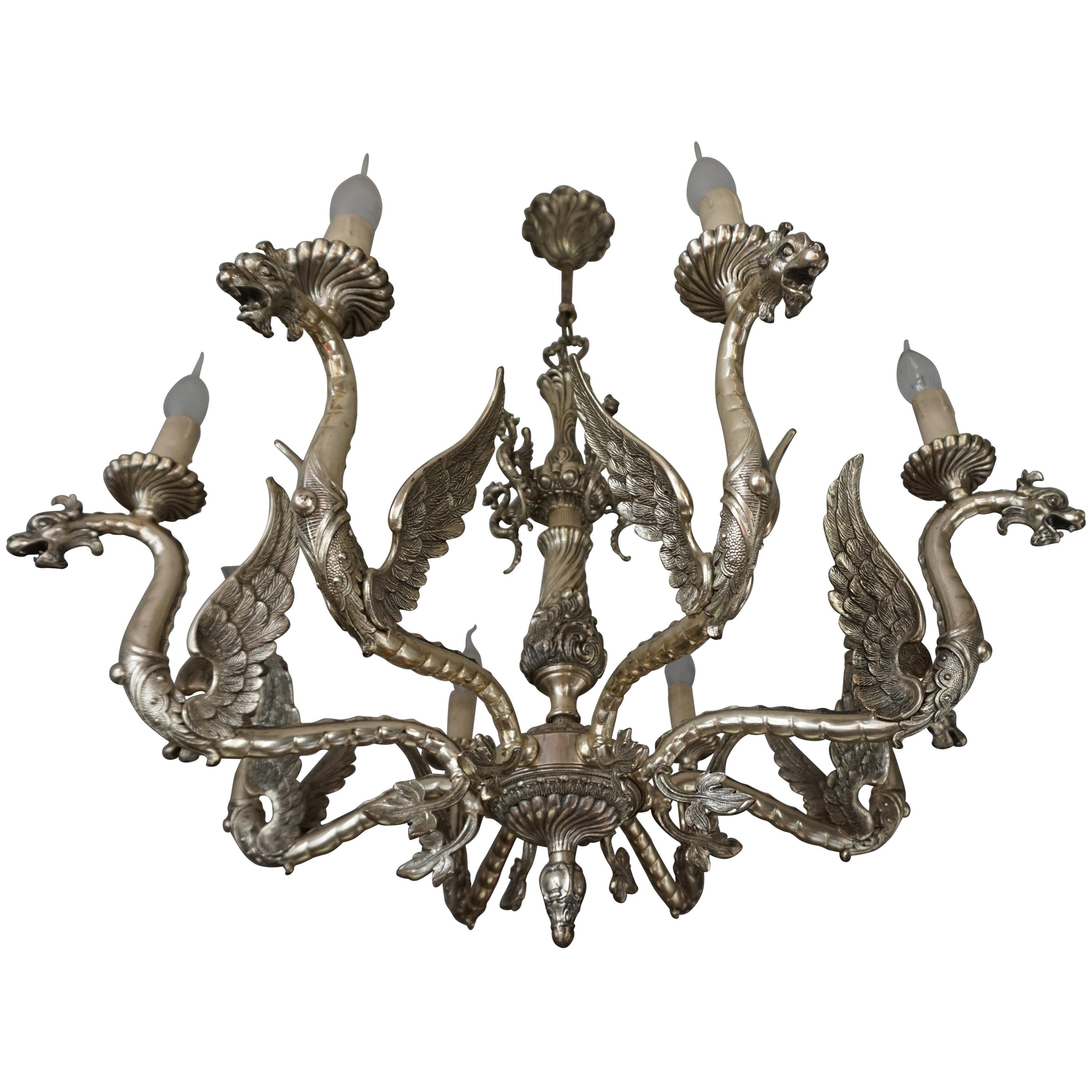 Amazing Gothic Revival Silvered Bronze Chandelier with Flying Dragon Sculptures