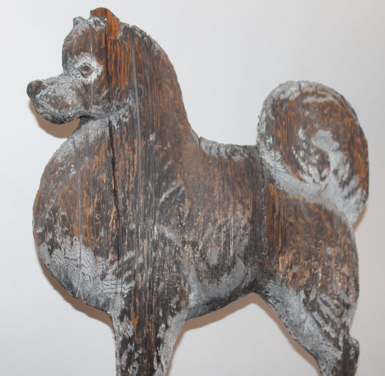 20th Century Amazing Hand Carved and Painted Signed Dog Weather Vane For Sale