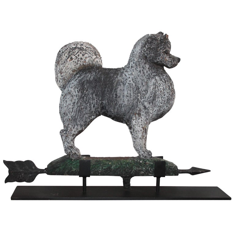 Amazing Hand Carved and Painted Signed Dog Weather Vane For Sale