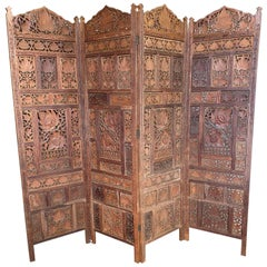 Amazing Hand Carved Hardwood 4 Panel Room Divider Screen Handmade Midcentury