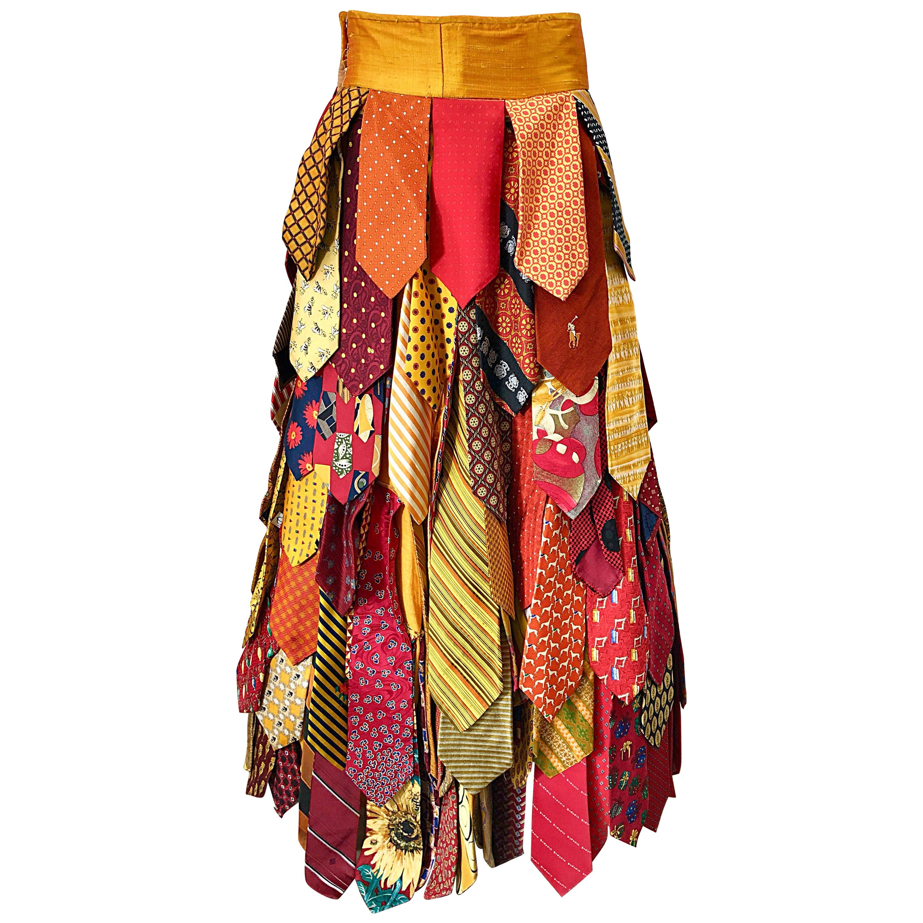 611b8932a7a6 Beautiful Vintage Watercolor Floral Yellow Silk Taffeta Full Length Bubble  Skirt For Sale at 1stdibs