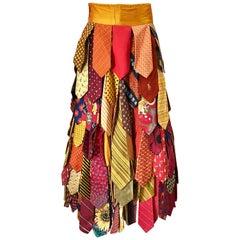 Amazing Hand Made Vintage Silk Designer Neck Ties Boho Maxi Skirt