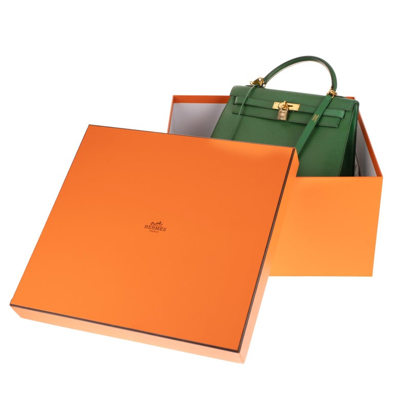 Amazing handbag Hermès Kelly 32 sellier with strap in green courchevel leather ! 6