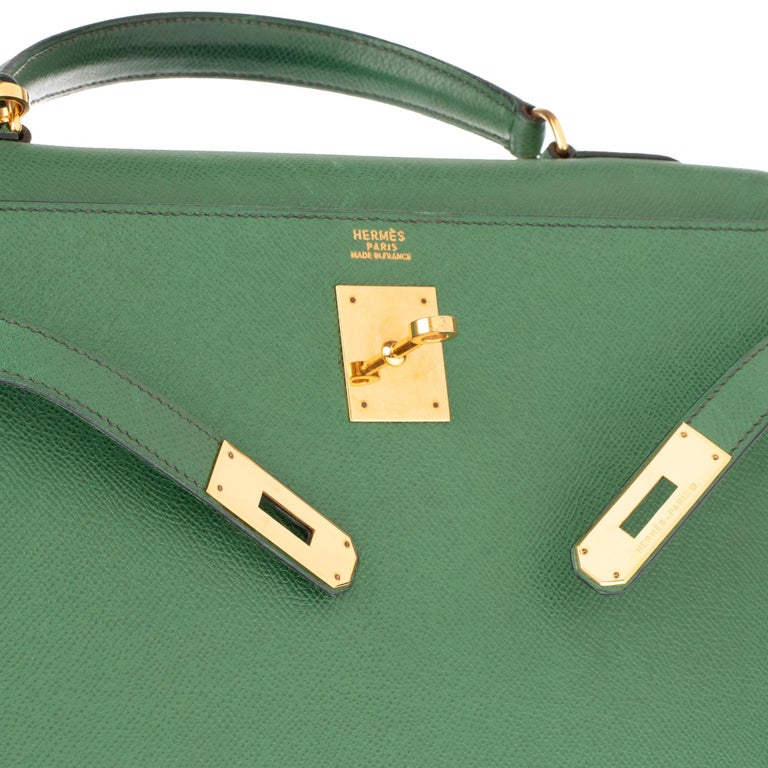 Gray Amazing handbag Hermès Kelly 32 sellier with strap in green courchevel leather !