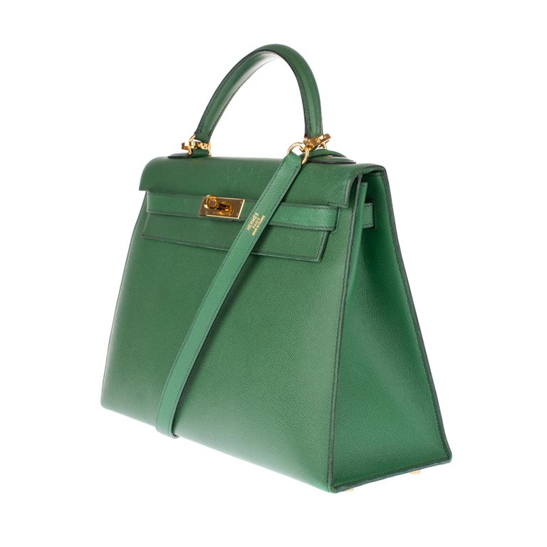 Amazing handbag Hermès Kelly 32 sellier with strap in green courchevel leather ! 1