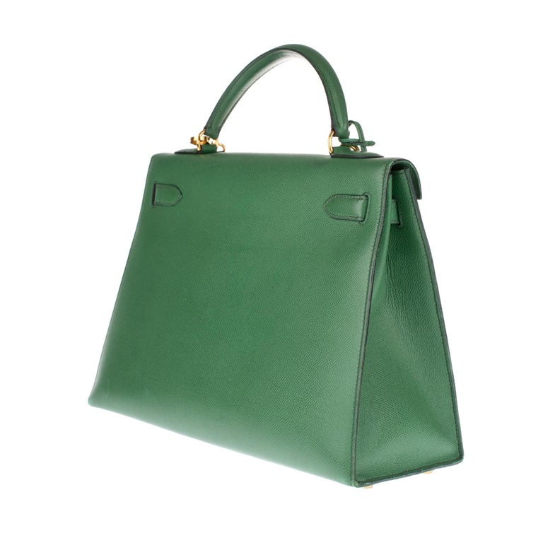 Amazing handbag Hermès Kelly 32 sellier with strap in green courchevel leather ! 2