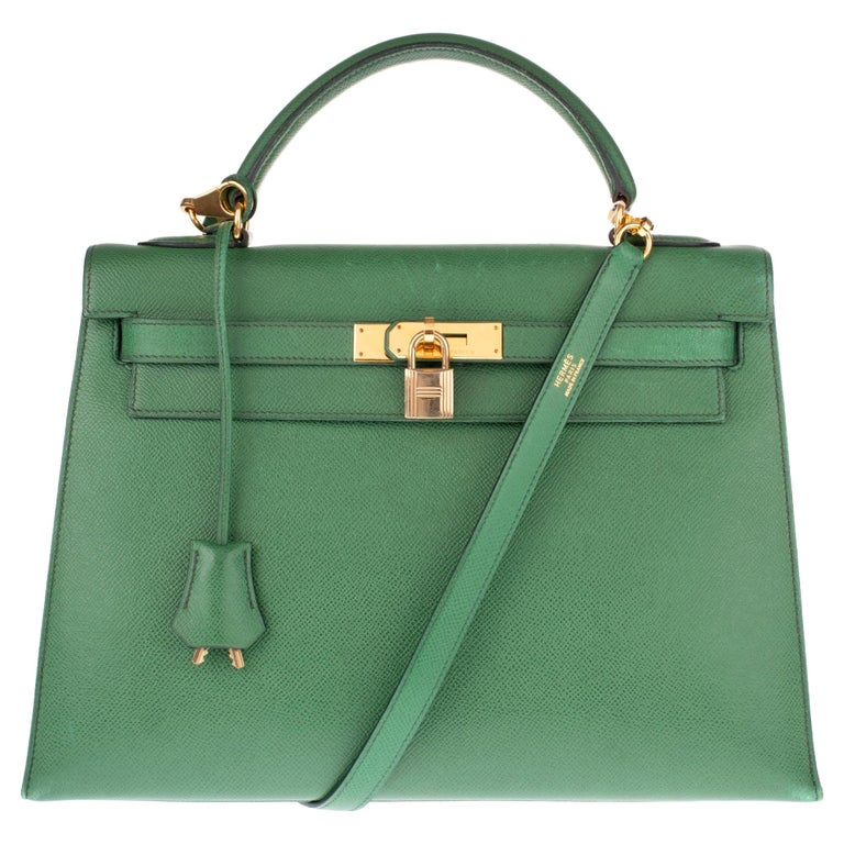 Amazing handbag Hermès Kelly 32 sellier with strap in green courchevel leather !