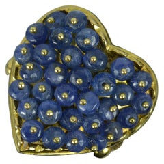 Amazing Heavy 18 Carat Gold and Sapphire Bead Heart Shape Cluster Ring