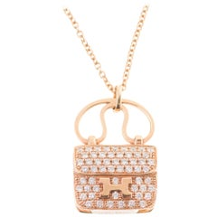 Amazing Hermès Amulette Constance pendant in rose gold & 65 diamonds