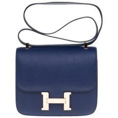 AMAZING Hermes Constance shoulder bag in blue sapphire epsom,pink gold hardware
