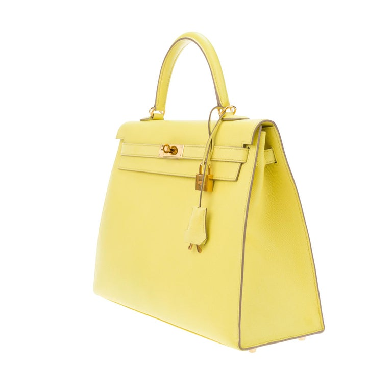 Amazing Hermès Kelly 35 handbag with strap in epsom yellow lemon color, GHW ! For Sale 1