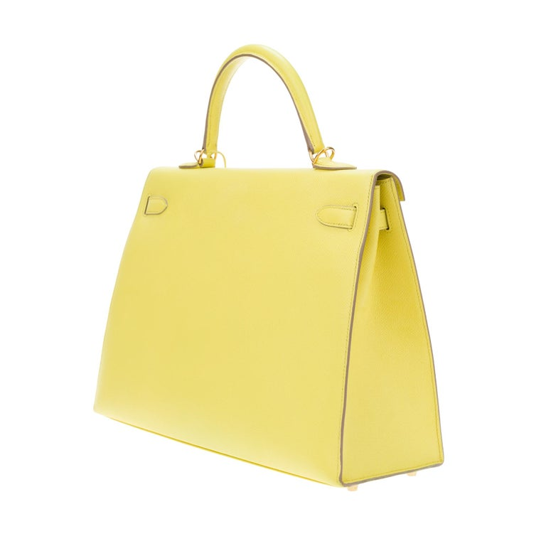 Amazing Hermès Kelly 35 handbag with strap in epsom yellow lemon color, GHW ! For Sale 2