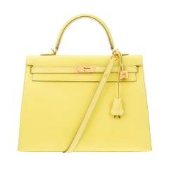 Amazing Hermès Kelly 35 handbag with strap in epsom yellow lemon color, GHW !