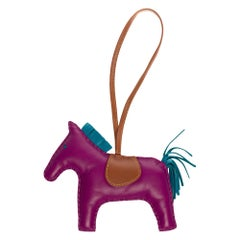 Amazing Hermès Rodeo bag Charm in purple, brown and blue leather