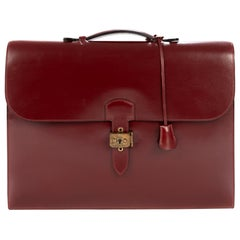 Amazing Hermès Sac à dépêches briefcase in burgundy calfskin