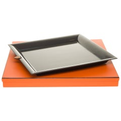 Amazing Hermès Tray in grey lacquered wood