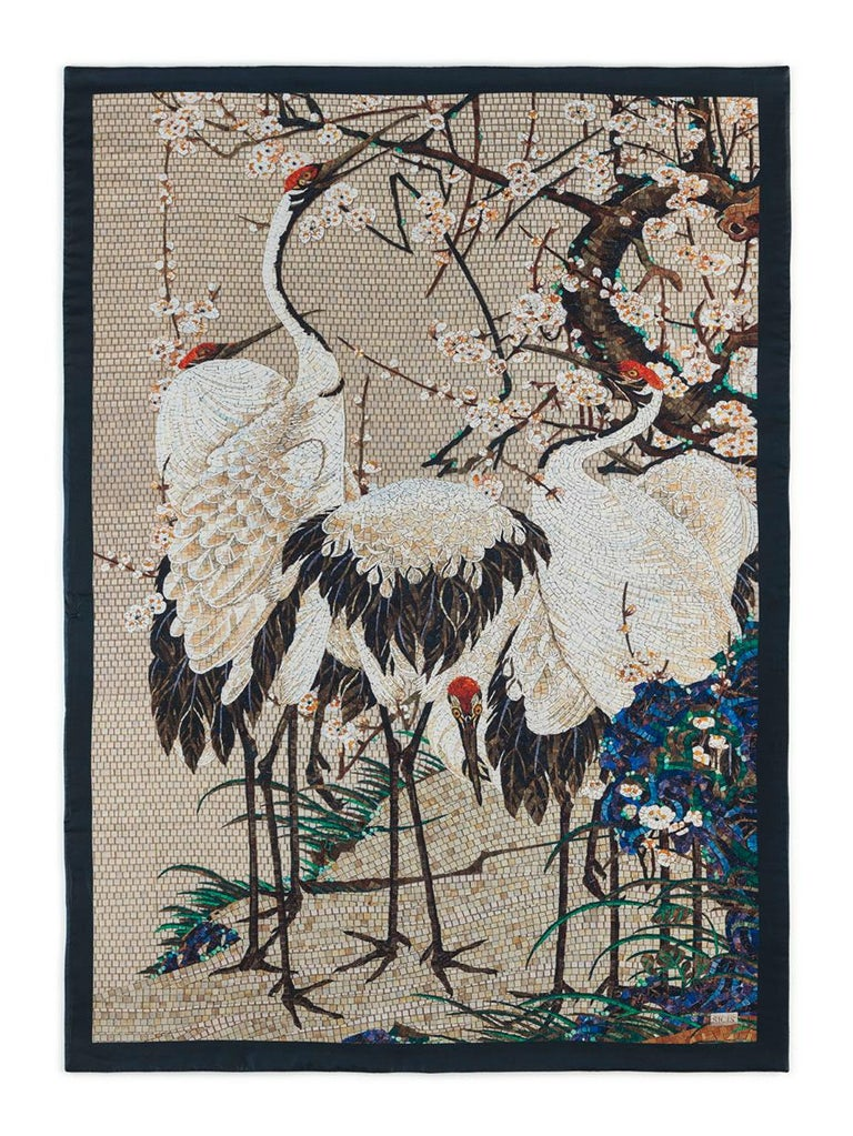 Modern Amazing Heron Bed cover Blanket Silk Cashmere Wool For Sale