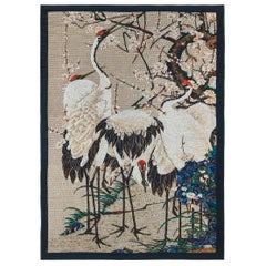 Amazing Heron Bed cover Blanket Silk Cashmere Wool