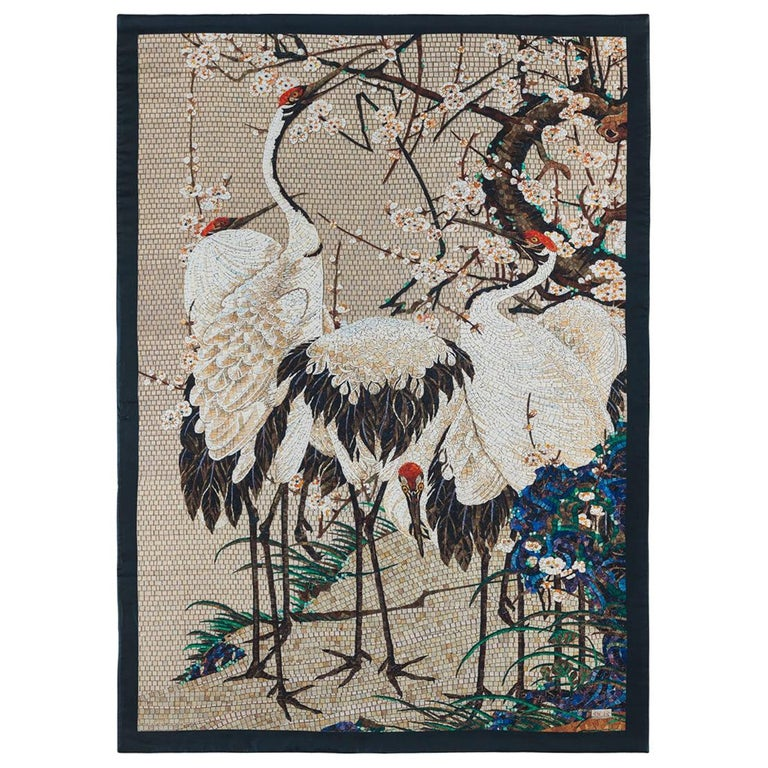 Amazing Heron Bed cover Blanket Silk Cashmere Wool For Sale