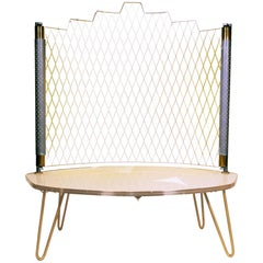 Perforated Metal & Illuminated Occasional Console Side Table Stand, mid-century