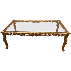 Amazing Italian Sculpted Gold Resin Limited Edition Rectangular Coffee Table