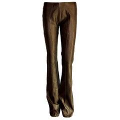 Amazing Jitrois Chocolate Brown Metallic Stretch Leather Pants Leggings