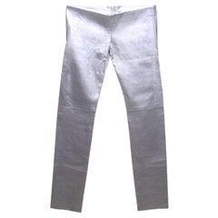 Brandnew Jitrois Platinum Metallic Stretch Leather Pants Leggings