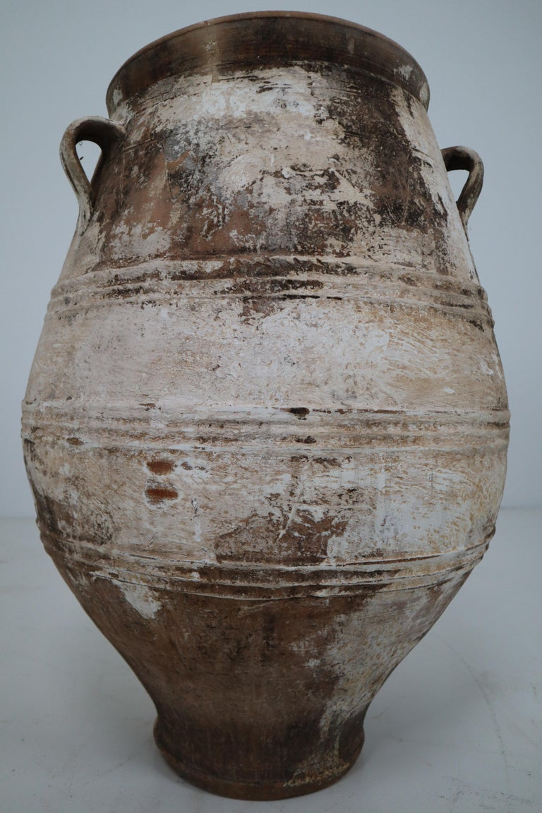 French Provincial Amazing Large Greek Patinated Terracotta Jar from the Early 20th Century For Sale