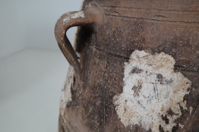 Amazing Large Greek Patinated Terracotta Jar from the Early 20th Century For Sale 1