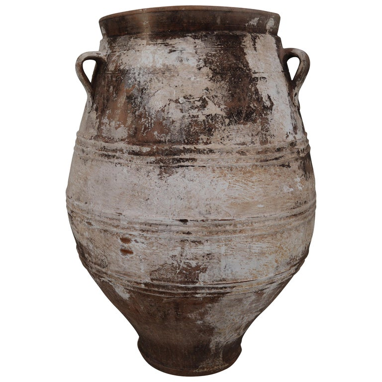 Amazing Large Greek Patinated Terracotta Jar from the Early 20th Century For Sale