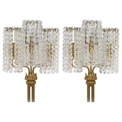 Amazing Large Pair of Wall Crystal Glass Sconces, Bakalowits Attributed, Vienna