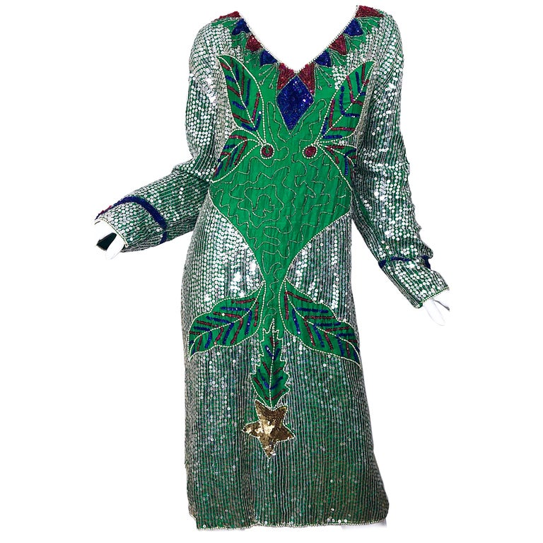 Amazing Late 1970s Plus Size Kelly Green Sequined Vintage 70s Long Sleeve  Dress