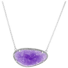 Amazing Lavender Jade Diamond White Gold Necklace