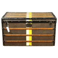 Amazing Louis Goyard Mail Trunk in chevrons Canvas - Circa 1920's