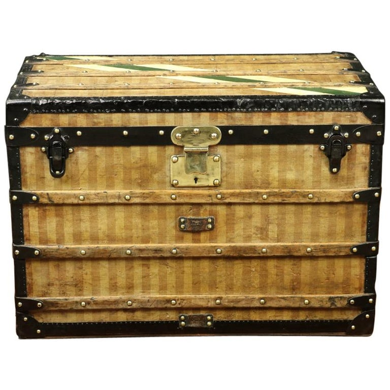 "Amazing Louis Vuitton ""Deauville"" Striped canvas Trunk Circa 1870/1890 For Sale"