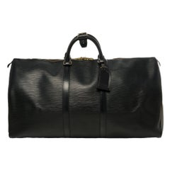 Amazing Louis Vuitton Keepall 55 in black epi leather