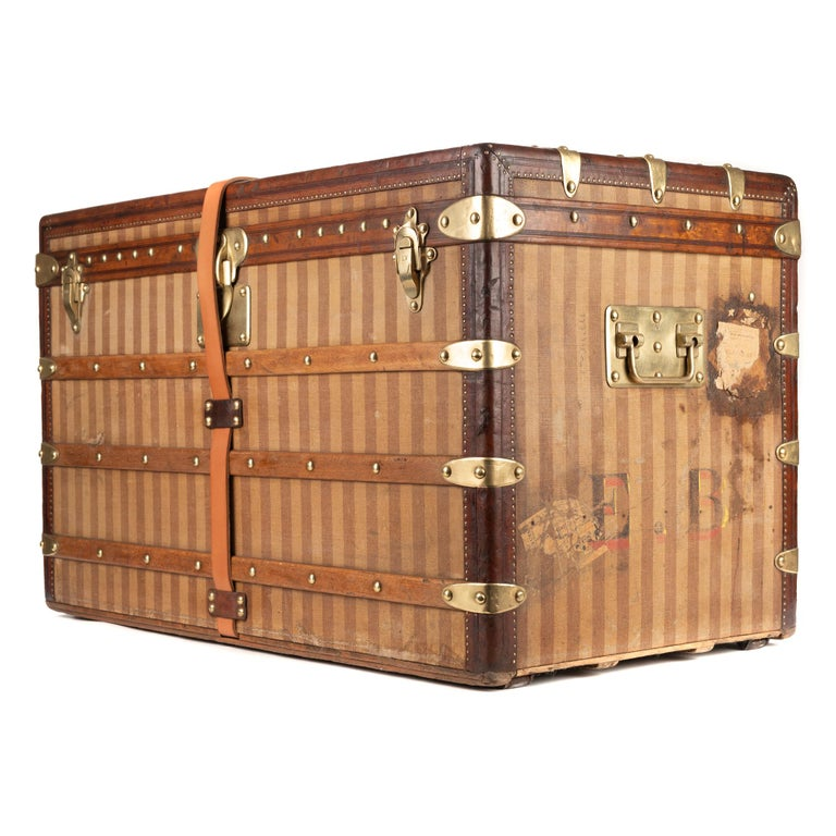 Brown Amazing Louis Vuitton vintage Striped canvas Trunk Circa 1890's For Sale