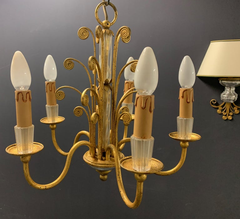 Amazing Maison Baguès Gilt and Crystal Glass Chandelier For Sale 11