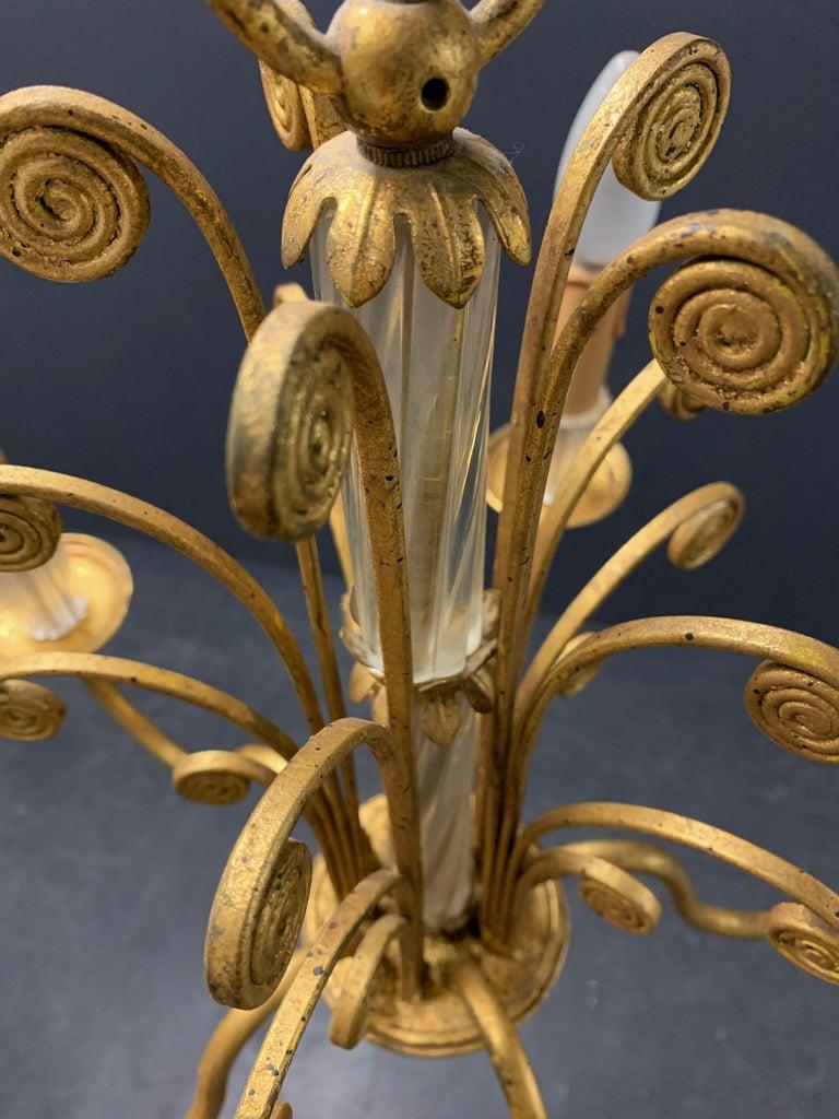 Hollywood Regency Amazing Maison Baguès Gilt and Crystal Glass Chandelier For Sale