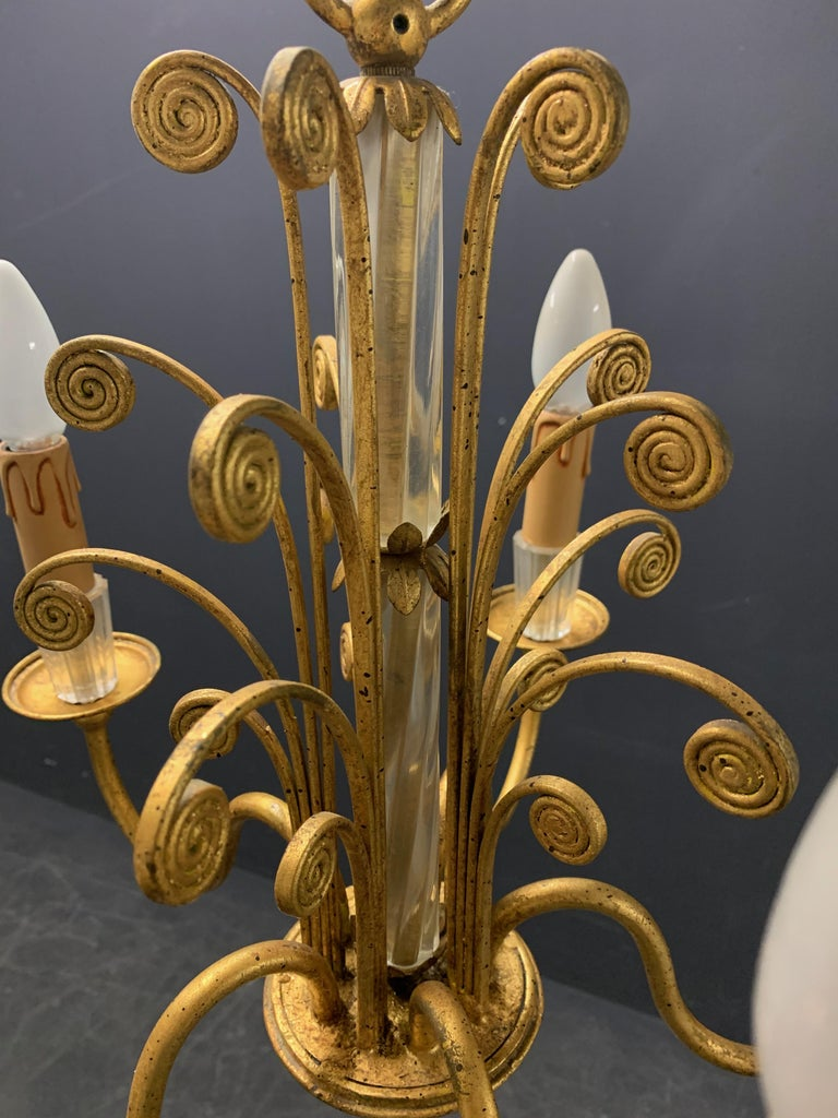 Amazing Maison Baguès Gilt and Crystal Glass Chandelier In Good Condition For Sale In Munich, DE